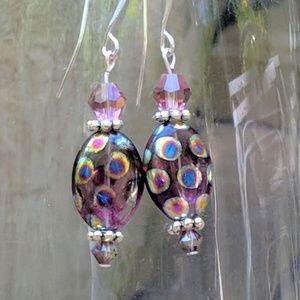 Jewelry - Purple Czech  beads with swarovski crystals.